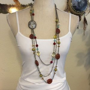 Vintage multi chain silver medallion bead necklace
